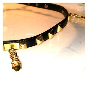 Small gold square angle studs belt gold charm belt